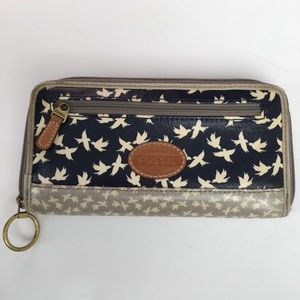 FOSSIL  coated canvas bird print wallet